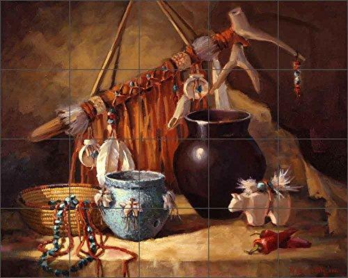 Southwest Art Tile Mural Backsplash Ceramic Zuni Fetish Pot - by Maxine Johnston - Kitchen Bathroom Shower (40