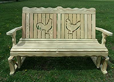 4 Ft Pressure Treated Pine Designs Unfinished Rooster and Hen Cutout Outdoor Glider Bench