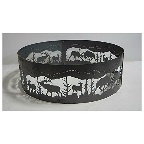 PD Metals Steel Campfire Fire Ring Fighting Elk Design - Unpainted - Small 30 d x 10 h Plus Free eGuide by PD Metals