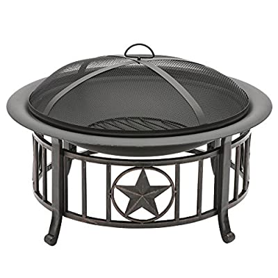CobraCo FT-115 Americana Fire Pit - Assemble in less than 1 hour Brushed-bronze finish on patriotic base All steel construction - patio, outdoor-decor, fire-pits-outdoor-fireplaces - 51wRl2lLgvL. SS400  -