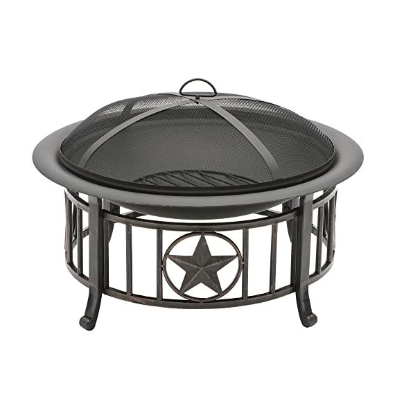CobraCo FT-115 Americana Fire Pit - Assemble in less than 1 hour Brushed-bronze finish on patriotic base All steel construction - patio, fire-pits-outdoor-fireplaces, outdoor-decor - 51wRl2lLgvL. SS570  -