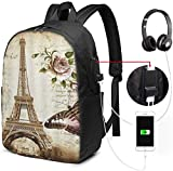 Unisex Backpack with USB Charging Port Vintage Eiffel Tower Monarch Butterfly Classic Fashion General Business Bookbag