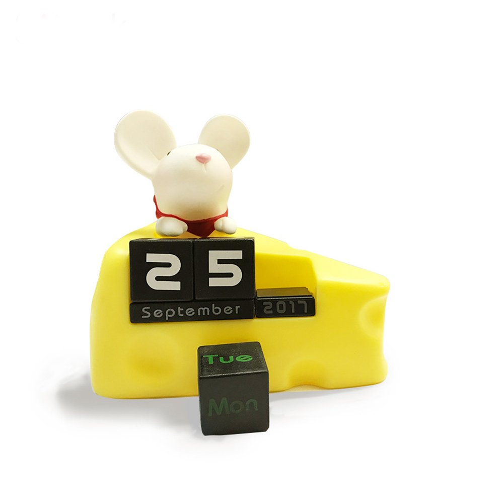 Betan Creative Cute Mic Mouse Desktop Desk Soft Plastic PVC Cubes Daily Perpetual Desktop Calendar for Home Office Decoration DIY Yearly Planner Calendar(2017-2020)