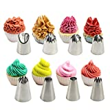 Pastry Bag-Cupcake/Cake Decorating Tips 8 Pcs Stainless Steel Piping Icing Tips 50 Pack-16-Inch Large Disposable Icing Piping Bags Set