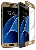 Bastex Samsung Galaxy S7 Edge 9-H Tempered Glass Screen Protector, Full Screen Coverage, High Definition, Clear Transparency, Anti-Bubble Shield with Gold Faceplate for Samsung Galaxy S7 Edge