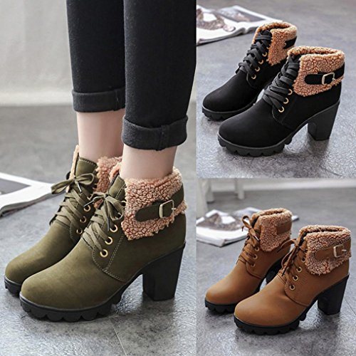 SOMESUN Lace-up Martin High Heels Platform Boots Warm Women's Ankle Short Plush Winter Shoes Army Green qQafSV