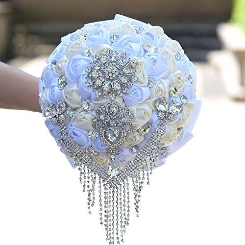 KUPARK Crystal Rhinestone Ribbon Rose Bridal Bridesmaid Bouquets Wedding Flower (Ribbon Bouquet Pin)