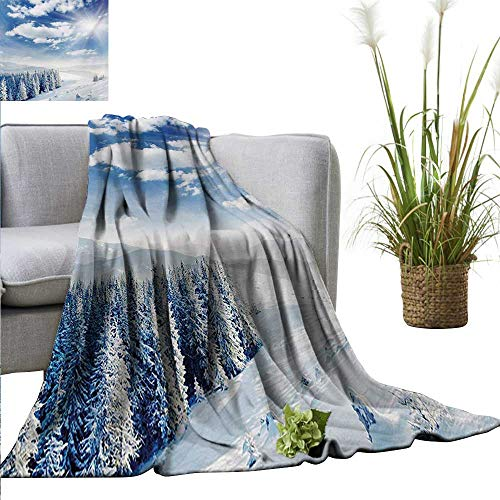 (AndyTours Summer Blanket,Winter,Idyllic Snow Covered Mountain Forest Frozen ICY Highland Nordic Peaks Scenery,Pale Blue White,Lightweight Breathable Flannel Fabric,Machine Washable 60