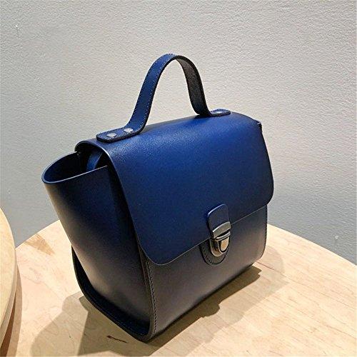 Xuanbao Bolso de Mano de Cuero de la Bolsa de Mensajero del Bolso de Cuero de la Capa de los Bolsos de Cuero de la Vendimia (Color : Azul Oscuro) Azul Oscuro