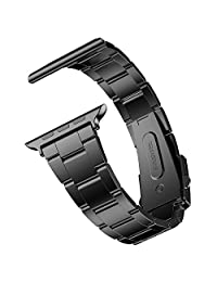 Apple Watch Band, JETech 42mm Stainless Steel Strap Wrist Band Replacement w/ Metal Clasp (Black) - 2106