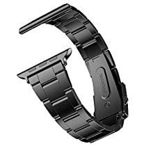 Apple Watch Band, JETech 42mm Stainless Steel Strap Wrist Band Replacement w/ Metal Clasp for Apple Watch All Models 42mm (Black) - 2106
