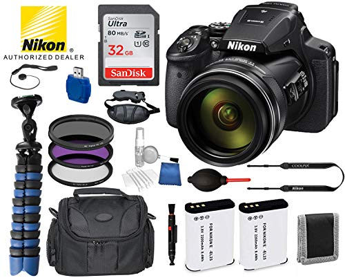 Nikon COOLPIX P900 Digital Camera with 83x Optical Zoom and Built-in Wi-Fi USA 26499 (Black) Bundle Package Deal - SanDisk Ultra 32GB Class 10 SD Card + Replacement Battery ENEL23 (2 Count) + More