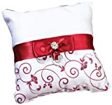 Lillian Rose Ring Pillow, 8-Inch, Red and White