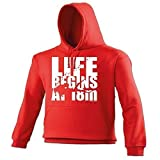 LIFE BEGINS AT 18 METERS - OPEN WATER (L - RED) NEW PREMIUM HOODIE - slogan funny clothing joke novelty vintage retro top mens ladies girl boy sweatshirt men women hoody hoodies fashion scuba diving snorkeling diver dive wetsuit fin flippers wet suit mask dry suit mask day for him her brother sister mum dad daddy father mother mummy birthday ideas Christmas present gift S M L XL 2XL 3XL 4XL 5XL - by Fonfella