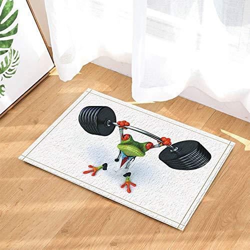 Wild Animal Decor,Safari Red-Eyes Frog in Weightlifting Against White Backdrop Bath Rugs Non-Slip Doormat Floor Entryways Indoor Front Door Mat Kids Bath Mat 15.7x23.6in Bathroom Accessories ()