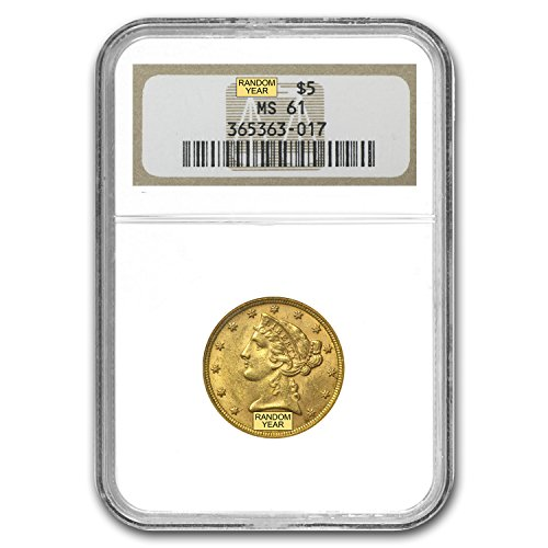 1839 – 1908 $5 Liberty Gold Half Eagle MS-61 NGC G$5 MS-61 NGC
