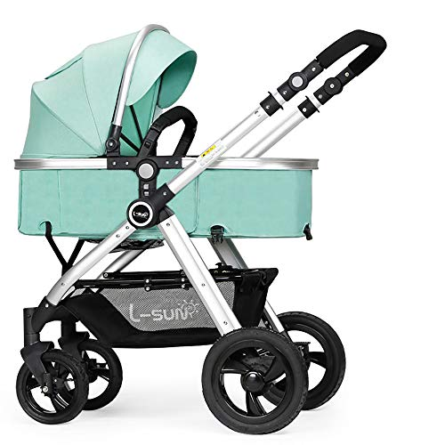 - Baby Stroller is Suitable for Newborns, High Landscape Can Sit Reclining Four Seasons Folding Shock Absorber Luxury Baby Stroller, Give 7 Gifts 0-36 Months Baby