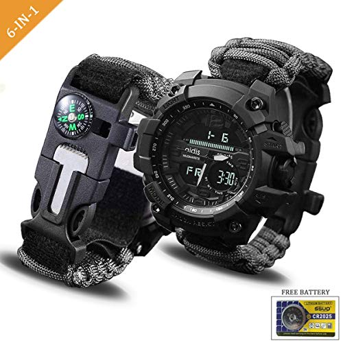 Juya Survival Bracelet Watch, Digital Emergency Survival Watch Waterproof with Paracord/Whistle/Fire Starter/Scraper/Compass and Survival Gear for Men and Women  (Black) ()