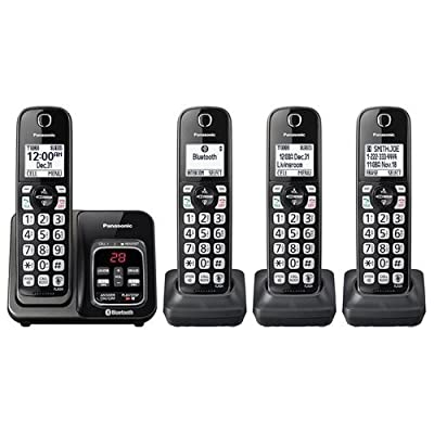 Panasonic KX-TG744 Link2Cell Cordless Bluetooth Landline Phone with Enhanced Noise Reduction and Digital Answering Machine - 4 Handsets, Black