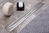 Neodrain Linear Shower Drain 36-Inch with Removable Wave Pattern Grate,Brushed 304 Stainless Steel Rectangle Shower Floor Drain,Floor Shower Drain With Adjustable Leveling Feet,Hair Strainer