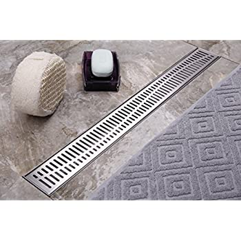 Neodrain Linear Shower Drain 36 Inch With Removable Wave Pattern  Grate,Brushed 304 Stainless Steel Rectangle Shower Floor Drain,Floor Shower  Drain With ...