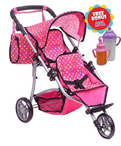 Exquisite Buggy, Twin Doll Stroller with Diaper Bag and Pink & Polka Dots Design with 2 Free Magic Bottles (Baby Double Doll Stroller)