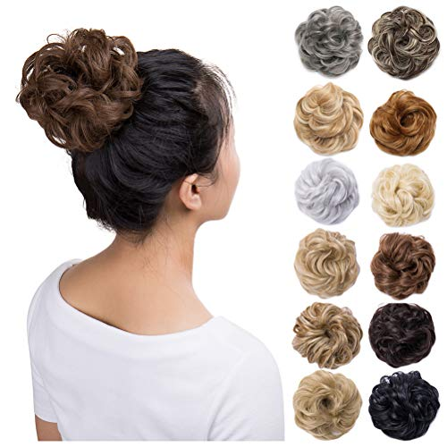 Scrunchy Updo Wavy Straight Hair Bun Clip Messy Donut Chignons Synthetic Hairpiece Hair Extension (ash brown)