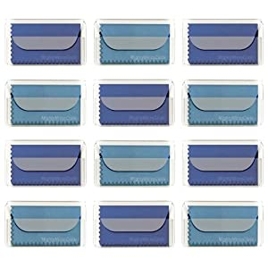 """MightyMicroCloth Premium Microfiber Cleaning Cloths 12 pack each in a Travel Pouch for Eyeglasses, Computer Screens, Glasses, Lens, iPads, iPhones, Cameras, LCD TV – 7"""" x 6"""" (6 Royal, 6 Sky Blue)"""