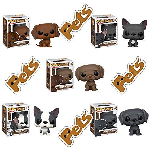 Pop! Pets Dachshund (brown), French Bulldog (gray), French Bulldog (gray & white), a black Labrador Retriever, and a chocolate Labrador Retriever! Set of ()