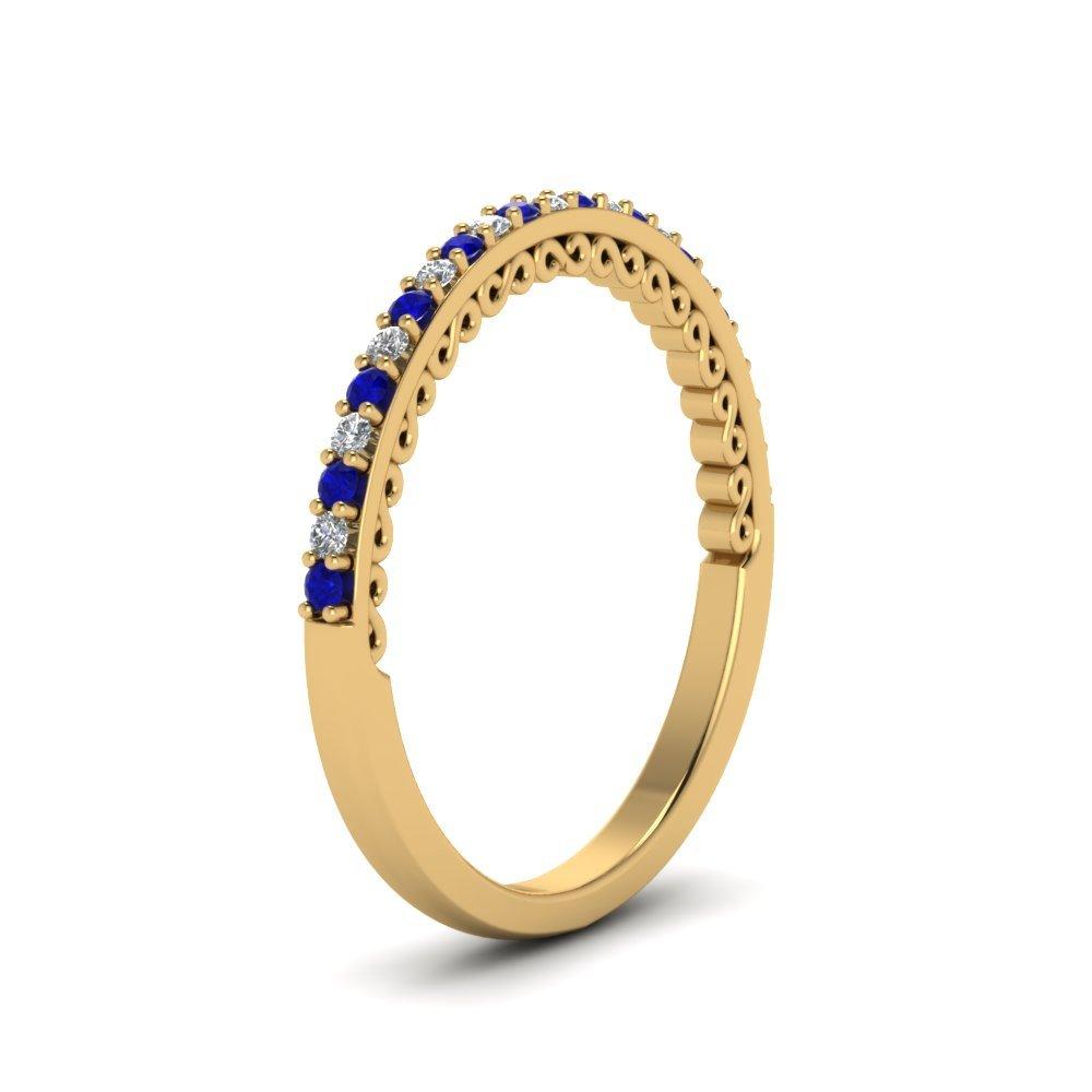 Half Eternity Blue Sapphire /& White Simulated Diamond 14K Yellow Gold Plated Thin Engagement Wedding Band Ring