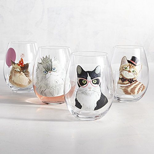 Party Cats Painted Stemless Wine Glass Box Set by Pier 1 Imports by Pier 1 Imports