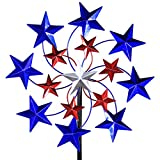 Exhart Star Spangled Garden Spinner, Metal Resin, Metalic Paint, Kinetic, Red White Blue, 20'' L x 7'' W x 83'' H