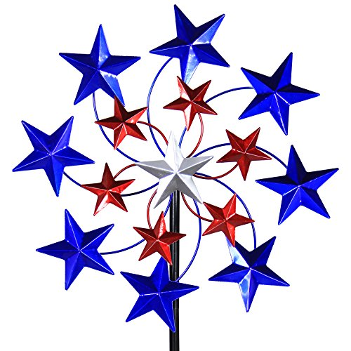 Exhart Star Spangled Wind Spinner - Pinwheels Outdoor Decor w/American Themed Metal Design - Kinetic Art Garden Spinner with Blue, Red, and White Stars Spinning Blades, 20
