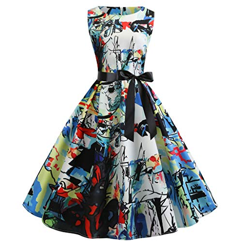 Women's Vintage Floral Print Bow Tie Waist Ball Party Prom Midi Tank Dress Black