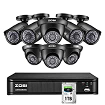 ZOSI Home Security Camera System Indoor Outdoor, 1080p Lite CCTV DVR 8 Channel with 8 x 720p Surveillance Bullet Dome Camera Kit, Remote Access, Motion Detection