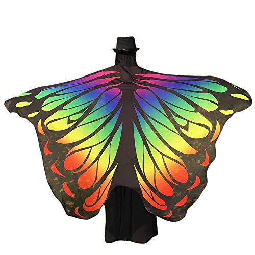 POQOQ Halloween Butterfly Wings Shawl Soft Fabric Fairy Pixie Costume Accessory 197125CM Multicolor