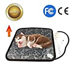 pet electric heating pad - Pet Heating Pad, YQW Dog Cat Electric Heating Pad Indoor Waterproof Adjustable Warming Mat with Chew Resistant Steel Cord 17.7