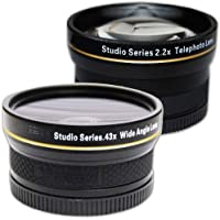 PLR Studio Series .43x High Definition Wide Angle Lens With Macro Attachment + PLR Studio Series 2.2X High Definition Telephoto Lens Travel Kit For The Olympus OM-D E-M5, E-M1, E-M10, PEN-E-PL3, PEN-E-PL5, E-PL6, E-PL7, E-P5, E-PM1, E-PM2, PEN E-P3, PEN E-P2, PEN E-PL1, E-PL2, GX1 Digital SLR Cameras Which Has The ZUIKO Digital ED 14-42mm f3.5 - 5.6 Micro 4/3 Zoom Olympus Lens