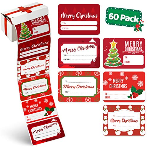 Christmas Gift Name Tags Stickers (60 Piece) Bulk Set - 6 Jumbo Designs - Xmas to from Christmas Stickers from Santa - Holiday Present Labels, Wrapping Paper Jumbo Rolls, Box and Bags