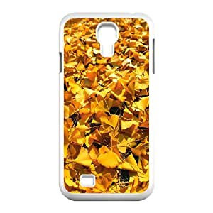 Okaycosama Funny Samsung Galaxy S4 Cases Golden Autumn Leaves for Teen Girls Protective, Phone Case for Samsung Galaxy S4, [White]