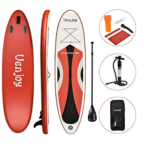 Uenjoy 10' Inflatable Stand Up Paddle Board (6 Inches Thick) Non-Slip Deck Adjustable Paddle Backpack,Pump, Repairing kit, Red