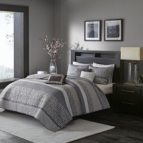 Madison Park Rhapsody King/Cal King Size Quilt Bedding Set - Grey, Striped - 6 Piece Bedding Quilt Coverlets - Ultra Soft Microfiber Bed Quilts Quilted Coverlet (Cal King Piece 6 Bedding)