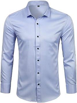 YFSLC-Studio Camisa De Manga Larga Hombre,Vestido De Fibra De Bambú Mens Camisas Slim Fit Larga SleeveCasual Abajo Elásticos Cómodos Formal Camisa ...