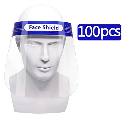 Sécurité de 100Pcs Full Face shield Réutilisable Housse De Protection Visage Yeux caissier Casque