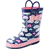 KushyShoo Kids Girl Rain Boots with Easy-On Handles, Rubber Rainboots for Girls (Toddler/Little Kids/Big Kids)