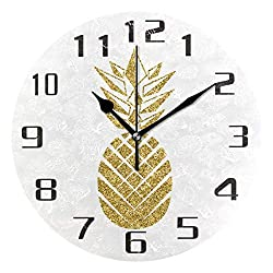 KUWT Tropical Pineapple Wall Clock Silent Non-Ticking 9.5 Inch Round Clock Acrylic Art Painting Home Office School Decor