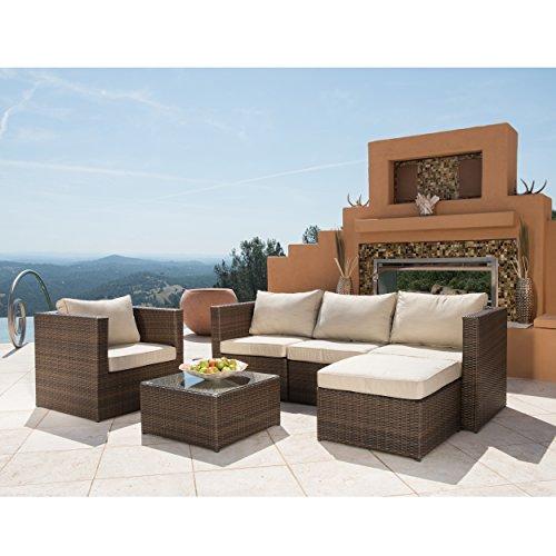 Supernova 6pc Furniture Modern Outdoor Garden Wicker Sofa Set With Coffee Table Beige Home
