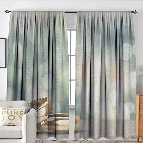 Blackou Curtains Wedding,Celebration Two Wedding Engagement Rings on Bokeh Abstract Background, Gold Pale Green Blue,Wide Blackout Curtains, Keep Warm Draperies,Set of 2 Panels 84