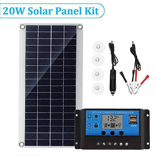 - combnine 20W Polycrystalline Flexible Solar Panel kit with Inverter Charge Controller,Portable Multi - Purpose Mobile Phone Charging Solar Board
