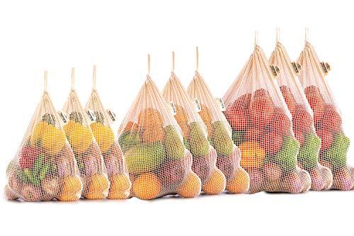 Mesh Reusable Bags - Organic Reusable vegetable Fruit Bags - Organic Cotton Mesh Bags with Drawstring - Cotton Mesh Vegetable Bags - Cotton Potato Bag - Set of 9 (3 Large, 3 Medium, 3 Small)
